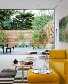Patio Interior, Interior And Exterior, Interior Design, Modern Interior, Yellow Interior, Living Room Designs, Living Room Decor, Living Spaces, Living Rooms