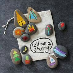 Buy or DIY: Story Stones Storytelling is a part of the learning process. Kids can express emotions through storytelling, they learn new vocabulary, and learn to listen as well. Story Stones are an interesting tool for boosting their creativity. Diy For Kids, Cool Kids, Crafts For Kids, Arts And Crafts, Summer Crafts, Rock Crafts, Diy Gifts For 3 Year Old Boy, Kids Fun, Diy Kid Gifts