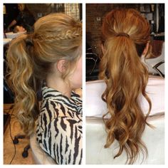 Homecoming hair - curly ponytail with bangs braided
