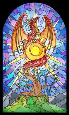 Stained glass, AND a dragon? This has to be the best combination ever! (Stained Glass Dragon by amarys at Epilogue. Broken Glass Art, Sea Glass Art, Stained Glass Art, Stained Glass Windows, Mosaic Glass, Window Glass, Window Art, Fused Glass, Stained Glass Tattoo