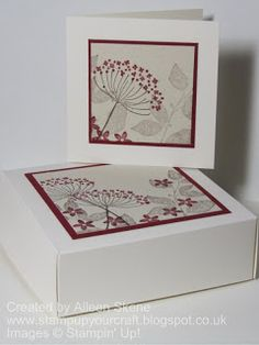 card and matching gift box Card Making Tips, Stamping Up Cards, Card Tags, Au Natural, Flower Cards, Greeting Cards Handmade, Note Cards, Serene Silhouettes, Cherry Cobbler