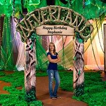 Neverland Archway - Lead your guests through the Neverland Archway and let all dreams come true. Each high x 7 wide printed cardboard Neverland Arch is personalized with your custom text. Homecoming Themes, Homecoming Dance, School Dance Decorations, Holiday Decorations, Happy Birthday Stephanie, Mormon Prom, Peter Pan Party, Dance Themes, Quinceanera Themes