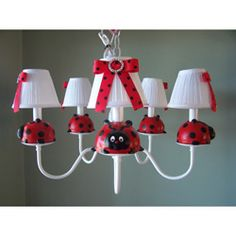 Perfect for her gardened themed room, or better yet, for a striking black, red, and white colored room, the Little Ladybug Chandelier will brighten up your little girl's nursery, bedroom, or playroom in a most enchanting way.