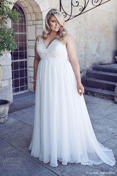 plus size perfection bridal 2016 sleeveles thick straps vneck empire waist lace bodice wedding dress (andrea) mv romantic elegant