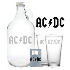 Acdc Growler 64oz Beer Growler With Acdc Engraving Acdc Gift ($27) ❤ liked on Polyvore featuring home, kitchen & dining, drink & barware, home & living, silver, silver bottle opener and engraved bottle opener
