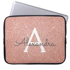 Pink Rose Gold Glitter and Sparkle Monogram Laptop Sleeve - modern gifts cyo gift ideas personalize