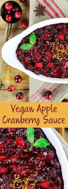This Apple Cranberry Sauce is bursting with mouth-watering flavors and has the perfect balance of sweet & tart. Your taste buds wont even know what hit em. Vegetarian Thanksgiving, Thanksgiving Recipes, Fall Recipes, Holiday Recipes, Vegan Recipes, Cranberry Recipes Vegan, Holiday Foods, Sauce Recipes, Vegan Sauces
