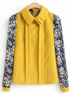 Yellow Lapel Contrast Floral Long Sleeve Blouse pictures