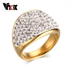 Find More Rings Information about New Fashion Gold Plating Stainless Steel Jewelry Shiny Rhinestone High polished Jewelry For Women,High Quality jewelry showcase lighting led,China jewelry earing Suppliers, Cheap jewelry supplies wholesale only from Vnox jewelry Co.,Ltd. on Aliexpress.com