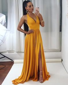 Yellow Prom Dress, Long Evening Dress, Prom Dresses - Source by viviwangen - Yellow Evening Dresses, Orange Prom Dresses, Deb Dresses, A Line Prom Dresses, Elegant Dresses, Cute Dresses, Formal Dresses, Dress Prom, African Maxi Dresses