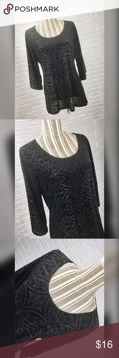 {brittany black} Sheer Black Patterned Velvet Top Sheer black patterned velvet top by Brittany Black. Size 1X, 2X, 2X, 3X, 3X. NWOT  Measurements in the Comments. Brittany Black Tops