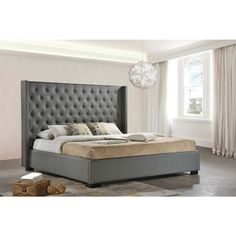 LuXeo Newport Wingback Tufted Contemporary Upholstered King-size Bed in Grey Fabric - Overstock™ Shopping - Great Deals on Beds