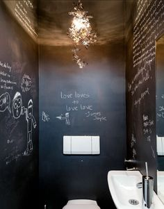 Chalkboard paint in a bathroom. Awesome.