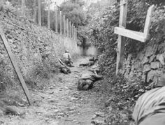 An American infantry patrol hugs a hedgerow by the side of a lane near St Lo as German artillery shells burst overhead. At this point the Germans were using fire from gun emplacements south of the town and St Lo only fell to the Americans after an eight day siege.