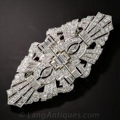 Art Deco Platinum Diamond Double Clip Brooch