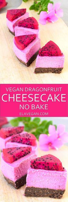 Raw Vegan Cheesecake with Dragon Fruit   Elavegan
