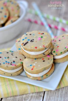 Funfetti Shortbread Cookie Sandwiches: delicious shortbread cookies with colorful sprinkles and marshmallow filling.