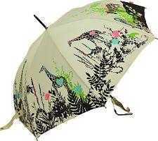 Florescendo Brollies Silhueta Artistas Girafa Stick Guarda-chuva - Creme