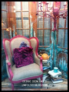 Great patina and texture on this display window. decor, market displays, colors, backgrounds, annie sloan, door, paint, wingback chairs, display windows