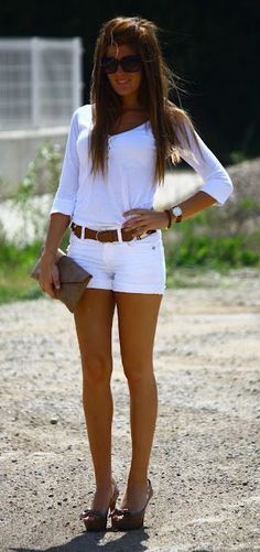 #summer #fashion / casual white outfit