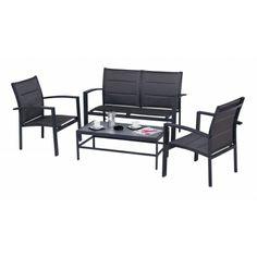 Salon de jardin Sofa Modulo Gris comprend : 1 sofa pour 2 personnes, 2 fauteuils et 1 table basse. Avec ses coloris modernes et son espace convivial ce salon agrémentera parfaitement votre terrasse ou votre jardin.