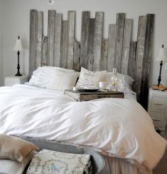 easy DIY headboard Idea - a little too choppy but i like the direction