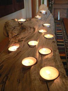 Driftwood Rustic candle holder large by FlotsamJetsamCrafts