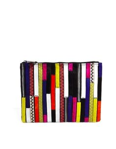ASOS Leather Zip Top Clutch Bag With Patchwork Faux Pony - $67.50