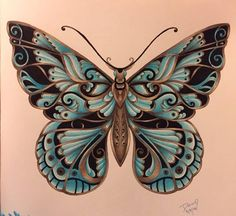 Magical Jungle by Johanna Basford..  Butterfly colored by Dawn