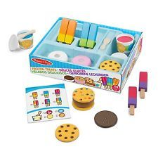 Your little one can pretend to have their own ice cream shop using the Melissa & Doug Wooden Frozen Treats Mix and Match Set. Included in the set are wooden ice cream sandwiches, Italian ices and ice pops, plus a menu card, tray and spoon. Wooden Play Food, Wooden Toys, Bb Reborn, Ice Cup, Lego Sets, Play Food Set, Italian Ice, Cookie Flavors, Make Ice Cream