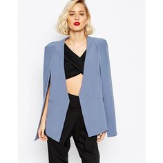 Lavish Alice Collarless Cape Blazer ($97) ❤ liked on Polyvore featuring outerwear, jackets, blazers, blue, collarless jacket, cape blazer, blue cape, lavish alice and collarless blazer