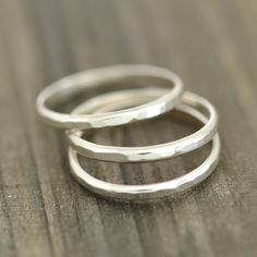 Rings - Textured eco-friendly sterling silver stackable bands. Three bands in a set.  Each bandwidth 2mm.