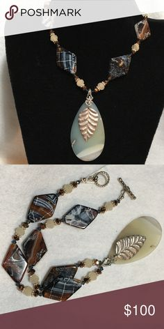 "STERLING SILVER AGATE & SWAROVSKI CRYSTAL NECKLACE Sterling Silver, Montana Blue Agate, and Swarovski Crystal Necklace. NWT 18"" Bit of Heaven Jewelry Necklaces"
