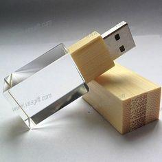 Crystal glass+Wood usb flash drive with engrave logo #crystalusbsticks #drive #glassusb #phototips #wood