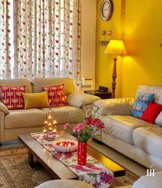 Repost by ——— Hi all decor enthusiasts and lovers.All of us have worked hard and rightly so, to beautify and decorate our… Indian Living Rooms, Colourful Living Room, Living Room Colors, Small Living Rooms, Living Room Decor, Indian Room Decor, Ethnic Home Decor, Asian Decor, Diy Room Decor