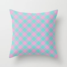 Spring Time Diamonds Throw Pillow #stripes #striped #slanted #sideways #modern #hypnotic #lines #simple #minimal #minimalism #pillow #case #cover #throwpillow #pillowcase #pillowcover #homedecor #decor #decorative #couch #bedding #comfort #society6 #pillows #checkered #diamonds #diamond #pink #mint #hotpink #turquoise