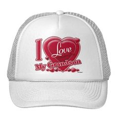 I Love My Grandson red - heart Trucker Hat    *This design is available on t-shirts, hats, mugs, buttons, key chains and much more*    Please check out our others designs at: www.zazzle.com/ZuzusFunHouse*