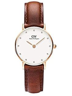 Daniel Wellington Women's 0900DW St. Mawes Stainless Steel Watch with Brown Strap ❤ Daniel Wellington