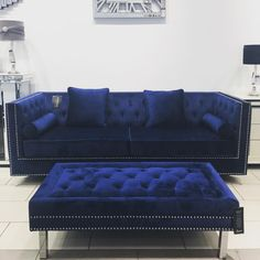 Interior Design For Living Room Blue And Pink Living Room, Blue Velvet Sofa Living Room, Blue Living Room Decor, Blue Home Decor, Blue Rooms, Living Room Sofa, Living Room Designs, Bobs Furniture Living Room, Blue Furniture