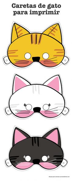 Coloring Pages: Animal Masks Cat Crafts, Animal Crafts, Sewing Crafts, Crafts For Kids, Kitten Party, Cat Party, Theme Carnaval, Printable Masks, Printables