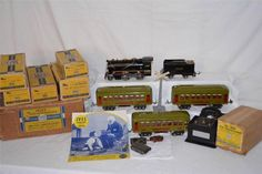 Ives Prewar O Gauge Tin Toy Train Set #1614X 257, 610, 612 Box