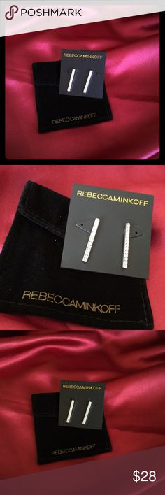 Rebecca Minkoff Earrings Bar Studs Sparkling crystals along a slim bar are both trendy and elegant.  Very modern and glamorous!  Pave crystals along a linear drop, lots of sparkle and shine without being overbearing.  The essence of elegance.  Comes on a RM card with a suede RM storage pouch.  Purchased at Nordstrom, but never worn.  New with tags. use bundle for discount!  Amy Rebecca Minkoff Jewelry Earrings