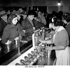 Prague - Czechoslovakia, 1950.  Customers at milk bar. CTK Vintage Photo - Stock Image