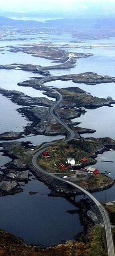 The Atlantic Ocean Road runs through an archipelago in Eide and Averøy in Møre og Romsdal, Norway