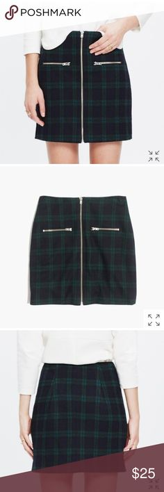 """zip skirt in dark plaid PRODUCT DETAILS  With a zip front and zip pockets, this slim mini skirt has got a little mod thing going on. Timeless tartan plaid gives it a festive feel.   Short, straight skirt.  16 1/4"""" long.  Poly/wool/viscose.  Dry clean.  Import.  ItemE5297. Madewell Skirts Mini"""