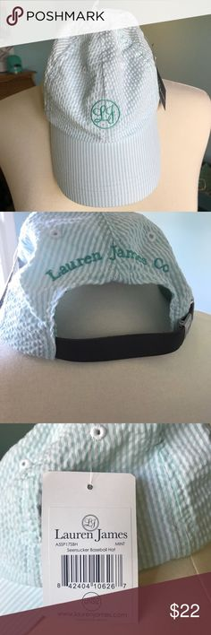 LAUREN JAMES SEERSUCKER BASEBALL CAP OS NWT Adorable Lauren James seersucker aqua and white striped baseball cap with leather adjustable strap. Lightweight, perfect for summer! New with tags from my clean smoke free home. Lauren James Accessories Hats