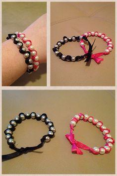 Pearl ribbon DIY bracelet, my version!