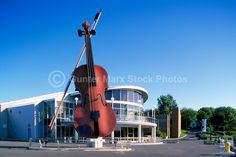 "Sydney, NS, Nova Scotia, Canada - The Big Ceilidh Fiddle (artist / welder: Cyril Hearn) at ""Joan Harriss"" Cruise Pavilion"