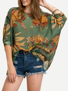 Vacation and Tribal Floral Top Oversized Round Neck Three Quarter Length Sleeve Green Kimono Sleeve Chiffon Shirt Print Chiffon, Chiffon Shirt, Chiffon Tops, Blouse Fleurie, Mode Boho, Spring Shirts, Batwing Sleeve, Long Sleeve, Fashion Outfits