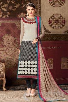 Off White And Black Crepe Churidar Dress For more information :- Call us @+919377222211 (Whatsapp Available)